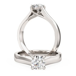 A stylish Round Brilliant Cut solitaire diamond ring in 18ct white gold