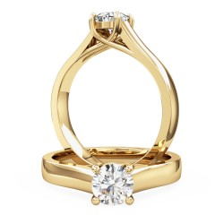 A stylish round brilliant cut solitaire diamond ring in 18ct yellow gold