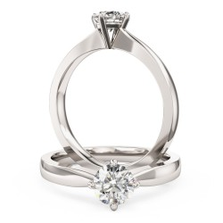 A classic Round Brilliant Cut solitaire diamond ring in 9ct white gold