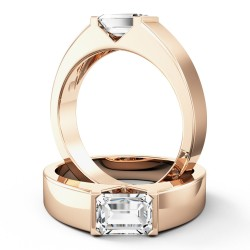 A stylish emerald cut solitaire diamond ring in 18ct rose gold