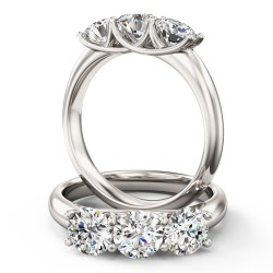 An elegant Round Brilliant Cut three stone diamond ring in platinum