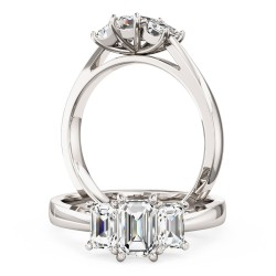 A beautiful Emerald Cut three stone diamond ring in 18ct white gold