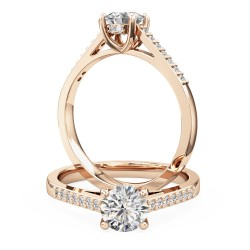 A dazzling round brilliant cut diamond ring with shoulder stones in 18ct rose gold