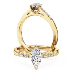 A stunning marquise cut diamond ring with shoulder stones in 18ct yellow gold