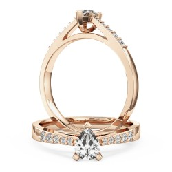An elegant pear shaped diamond ring with shoulder stones in 18ct rose gold
