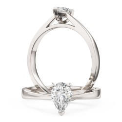 An elegant Pear Shaped solitaire diamond ring in platinum