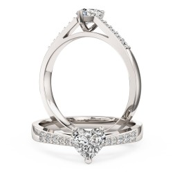 A charming Heart Shaped diamond ring with shoulder stones in platinum