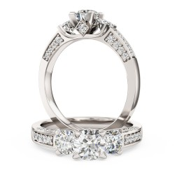 A breathtaking Round Brilliant Cut three stone diamond ring with shoulder stones in platinum