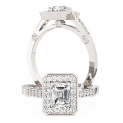 A beautiful Emerald Cut cluster style diamond ring in platinum