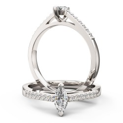 An elegant Marquise Cut diamond ring with shoulder stones in platinum