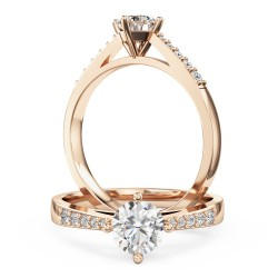 An elegant round brilliant cut diamond ring with shoulder stones in 18ct rose gold