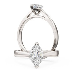 A classic Marquise Cut solitaire diamond ring in platinum