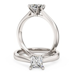 A classic Princess Cut solitaire diamond ring in 18ct white gold