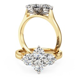 A charming round brilliant cut diamond ring in 18ct yellow & white gold