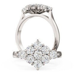 A beautiful Round Brilliant Cut cluster diamond ring in platinum