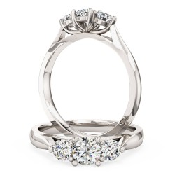 A beautiful Round Brilliant Cut three stone diamond ring in platinum