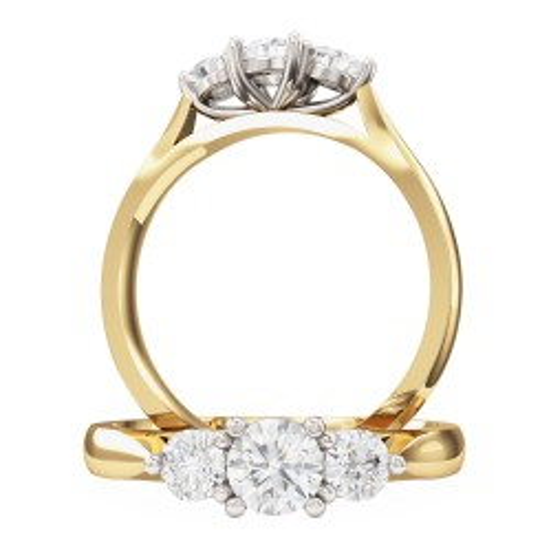 A beautiful round brilliant cut three stone diamond ring in 18ct yellow & white gold