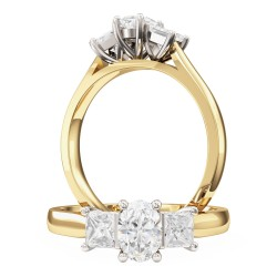 A stunning Oval & Princess Cut three stone diamond ring in 18ct yellow & white gold