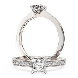 A beautiful Princess Cut diamond ring with shoulder stones in platinum