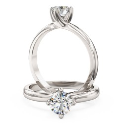 An elegant Round Brilliant Cut solitaire diamond ring in 9ct white gold
