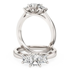 A stunning Emerald & Princess Cut diamond ring in platinum
