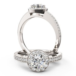A stunning Round Brilliant Cut halo style diamond ring in platinum