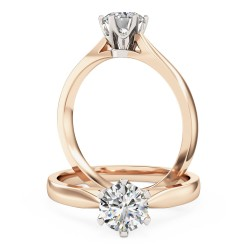 A classic Round Brilliant Cut solitaire diamond ring in 18ct rose & white gold
