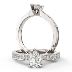 A beautiful pear shaped diamond ring with shoulder stones in 18ct white gold