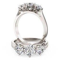A classic Round Brilliant Cut three stone diamond ring in platinum
