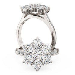 A stunning Round Brilliant Cut diamond cluster ring with shoulder stones in platinum