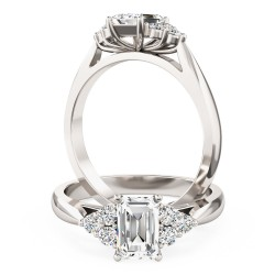 A classic Emerald Cut diamond ring with small Round shoulder stones in platinum