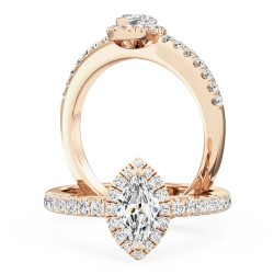 A stunning marquise cut halo diamond ring with shoulder stones in 18ct rose gold