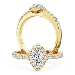 A stunning marquise cut halo diamond ring with shoulder stones in 18ct yellow gold