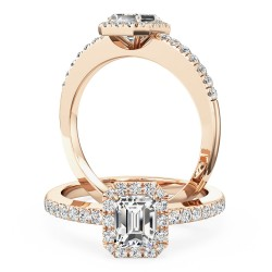 A stunning emerald cut diamond ring with shoulder stones in 18ct rose gold