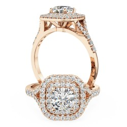 A luxurious cushion cut diamond double halo with shoulder stones in 18ct rose gold