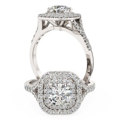 A luxurious cushion cut diamond double halo with shoulder stones in platinum