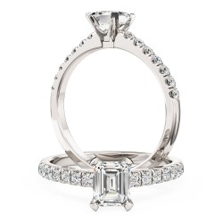 A beautiful Emerald Cut diamond ring with shoulder stones in platinum
