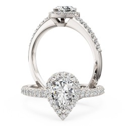 An amazing pear shaped diamond halo with shoulder stones in platinum