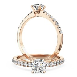 A beautiful Cushion Cut diamond ring with shoulder stones in 18ct rose gold