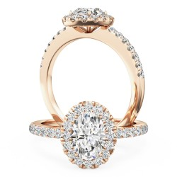 A stunning oval cut diamond halo with shoulder stones in 18ct rose gold