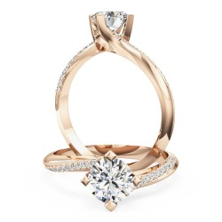 A stylish Round Brilliant Cut 'twist' engagement ring in 18ct rose gold