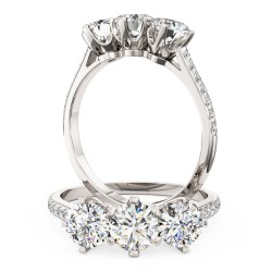 A stunning three stone diamond ring with shoulder stones in platinum