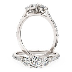 A classic Round Brilliant Cut three stone diamond ring with shoulder stones in platinum