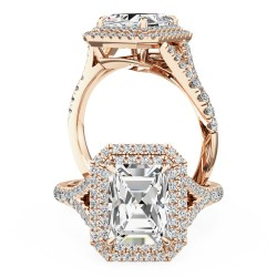 A stunning emerald cut diamond double halo set in 18ct rose gold