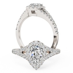 A stunning pear shape diamond ring with shoulder stones in platinum