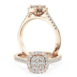 A luxurious cushion shaped halo diamond ring with shoulder stones in 18ct rose gold