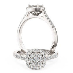 A luxurious cushion shaped halo diamond ring with shoulder stones in 18ct white gold