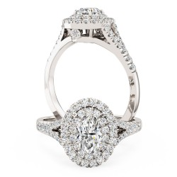 A luxurious Oval Cut double halo diamond ring with shoulder stones in platinum