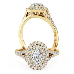 A luxurious Oval Cut double halo diamond ring with shoulder stones in 18ct yellow gold