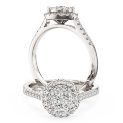 A stunning round brilliant cut halo diamond ring in platinum